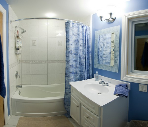 Small bathrooms can look large if right paints are used on for How to make a small bathroom look nice