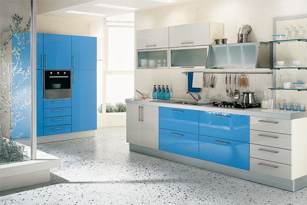 blue kitchen full refurbished